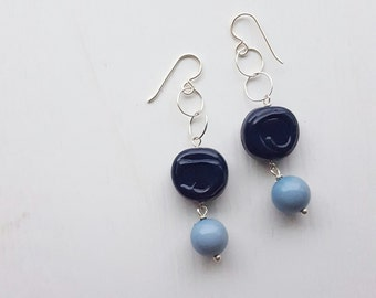 true blue - earrings - vintage lucite and sterling - one of a kind
