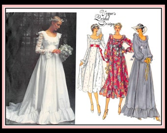 Vintage 1981-BEAUTIFUL BRIDAL GOWN-Vogue Sewing Pattern-Bridesmaid Dresses-Empire Waist-Scoop Neckline-Chapel Train-Lace-Uncut-Size 8-Rare