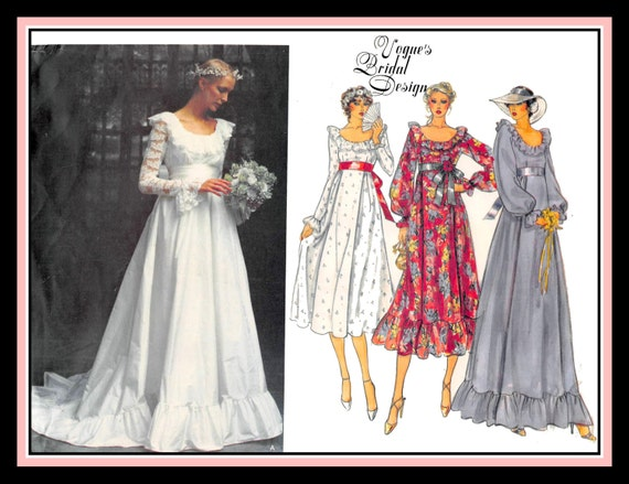 Vintage 1981-BEAUTIFUL BRIDAL GOWN-Vogue Sewing Pattern