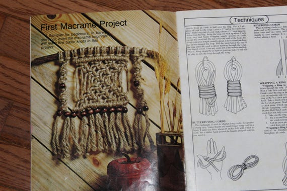 Macrame Book Cover Tutorial : Vintage macrame for beginners instruction tutorial book