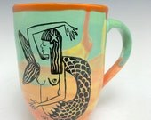 Colorful Sea Goddess Hand Thrown Mug: Key West Mermaid