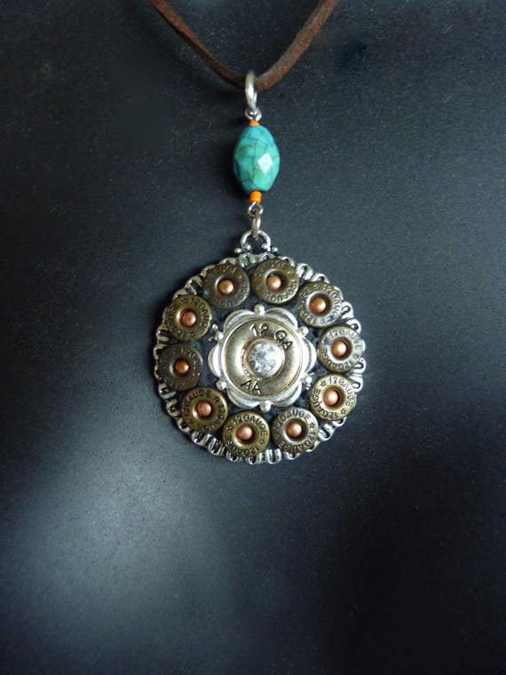 Western Bullet Casing Pendant Necklace with Faux Turquoise