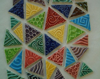 38A - 38 pc COLORFUL Stamped TRIANGLES - Ceramic Mosaic Tiles Set