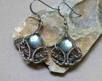 Light Blue Fire Labradorite and Sterling Silver Earrings - Antiqued Wire