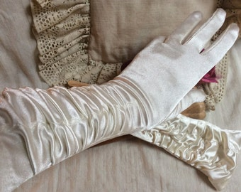 Vintage pearly ivory ruched bride's gloves, tight fit gathered fabric mid arm evening gloves, one size ruched off white satiny formal gloves
