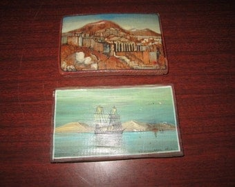 Vintage Pair of Sweet Little Souvenir of Greece Oil Paintings