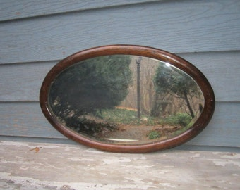Antique Circa 1910 Heavy Solid Oak Rustic Oval Beveled Wall Mirror