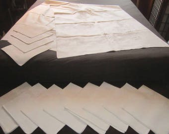 Vintage Exceptional Irish Linen Damask SET 72x104 Banquet Tablecloth and 12 Dinner Napkins with Elaborate Scroll Design