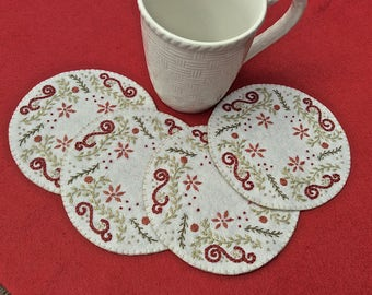 Hand Embroidered Christmas Coasters