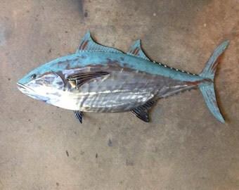 Blue Fin Tuna Fish Metal Sculpture 36in long Tropical Beach Coastal Wall Art