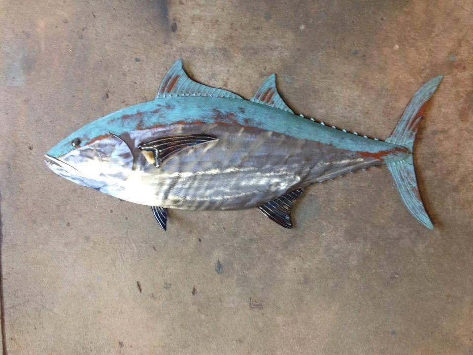Blue fin tuna fish metal sculpture 36in long tropical for Blue fin fish