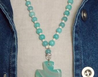 Sale Cross Necklace Boho Semi Precious Gemstone Boho Chic Summer Beaded Necklace Agate Czech Glass Amazonite Gemstone Spiritual Layering Jew