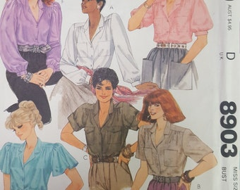 Blouse with forward shoulders and sleeve options 12 mccalls 8903