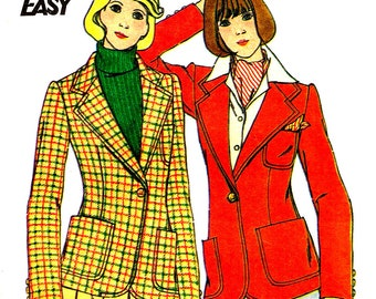 Blazer Jacket Size 14 Sewing Pattern Notched Collar Vintage 1970s Butterick 3826 Size 14 Bust 36 Inch Career Coat Uncut Factory Fold