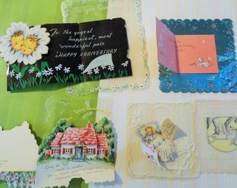 Foil and Scalloped Edges Featured in Vintage All Occasion No 196 Christmas Baby Birthday Annivesary total of 9 Christmas Birthday Get Well+