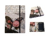 Kindle cover Hardcover, Kindle Paperwhite Cover, (New Outside Pockets) Pink Shabby Rose Script