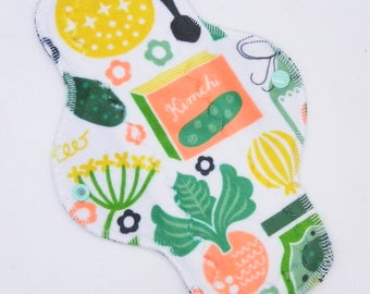 """10"""" Moderate Cloth Pad, Minky Cloth Menstrual Pad, MotherMoonPads, Day Pad, Light Incontinence Pad, Old Garden Minky, Windpro"""