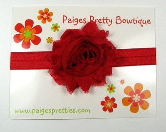 Red Shabby Chic Flower Headband-Baby Headband-Toddler Headband-Elastic Headband-Infant Headband