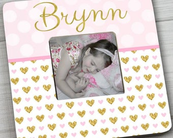 Pink and Gold Hearts Girls Bedroom Photo PICTURE FRAME for Kids Bedroom Baby Nursery Pf0096
