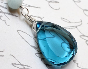 """London Blue Quartz Necklace with Aquamarine on Sterling Silver - """"Blu"""" by CircesHouse on Etsy"""