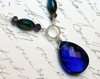 "Cobalt Blue Quartz Necklace with Iolite and River Shell - ""Magica"" by CircesHouse on Etsy"