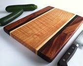 Beautiful RECLAIMED Hardwoods CUTTING BOARD Mahogany, Black Walnut, Maple and Oak
