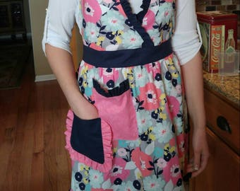 Floral Ruffled Apron