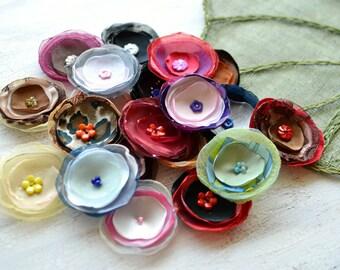 Fabric flowers, applique grab bag , handmade organza appliques, floral embellishments (20 pcs)- Grab Bag in Assorted Colors (mix set 346)