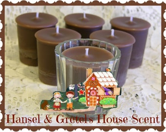 HANSEL & GRETEL'S HoUSE Gingerbread Scented Votive Candles - Gift Boxed Set Of 6 - Maximum Scented Paraffin Soy Blend Wax - Handmade USA