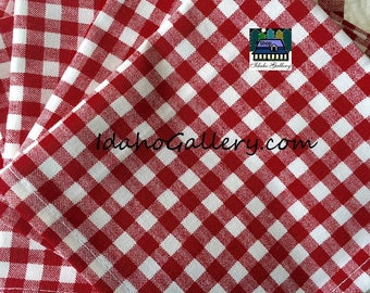 Set of 12 Red Gingham Check Fabric Napkins Sustainable Reusable Go Green