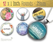 Bohemian Sayings - 1X1 (One) Inch (25mm) Round Collage Images - Digital Sheet - Pendant Images - Buy 2 Get 1 Free - Digital Download