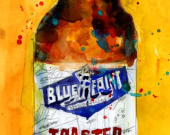 Blue Point Toaster Lager Beer Watercolor Art Print or Giclee Print as interpreted by D.Rifkin