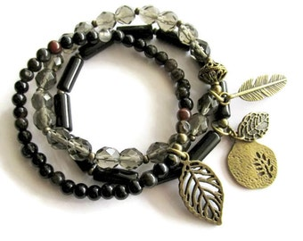 Beaded Black Glass and Stone Charm Boho Hippie Bracelet Set   Everyday Casual Jewelry for Women   Layering Stacking Bracelets   Gift for Her