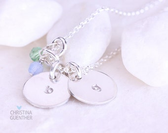 Initial Necklace - Delicate Sterling Silver Hand Stamped Necklace with Birthstone Crystals - Christina Guenther