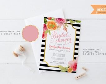 BRIDAL SHOWER invitation | floral print | black stripe | personalized | print at home