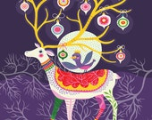 Holiday Reindeer... - limited edition giclee print of an original illustration (8 x 10 in)