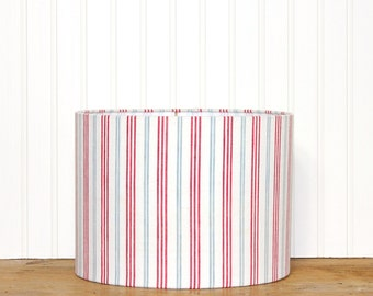 French Ticking Drum Shade - Stripe Lamp Shade - Blue and Red - Cottage Decor - Vintage Fabric - Lampshade - Beach Style - Ready to Ship!