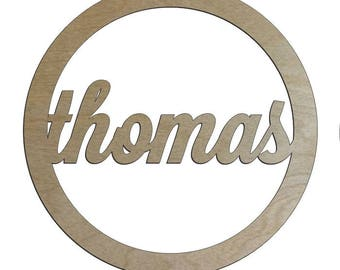 Unfinished Wood Name Circle Frame 10 diameter Door Hanger
