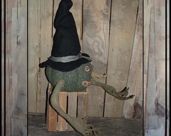 SALE mailed paper pattern Primitive folk art witch jack o lantern vine arms HAFAIR OFG faap 287