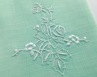 Green Linen Guest Towel White Rose Embroidery