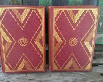 Pair of Vintage  Leather Bound Columbia Encyclopedias 1968