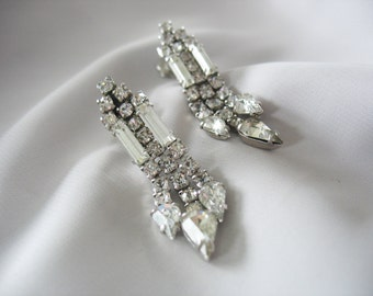 High Style Rhinestones Earring Drops, Sparkling White, Diamond like, Glamorous, Dangle, Screw Backs, 1940s