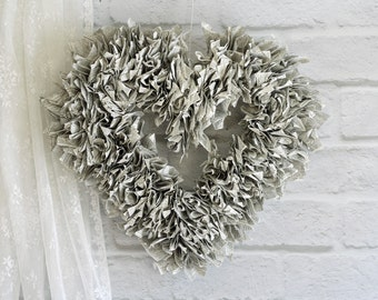 """Handmade Vintage Dictionary Book Page Wreath Open Heart Shaped 17"""""""