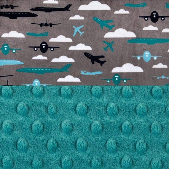 Personalized Baby Blanket Boy / Airplane Mini Minky Baby Blanket - Lovey Airplane Blanket, Gray Blue Teal // Burp Cloth