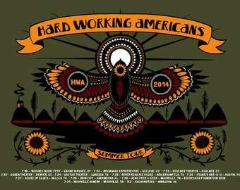 Hard Working Americans 2014 Summer Tour Concert Poster
