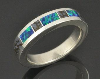 Gray Dinosaur Bone Ring with Lab Created Opal Inlaid in Sterling Silver - Dinosaur Bone Wedding Ring - Lab Opal Wedding Ring by Hileman