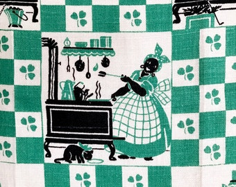 Vintage Towel Black Americana Mammy Aunt Jemima Cooking Cast Iron Stove St. Patrick's Day Green Shamrocks