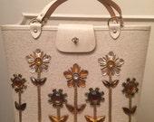 Vintage 1960s Enid Collins Bejeweled Flower Theme Bucket Handbag FREE US Shipping
