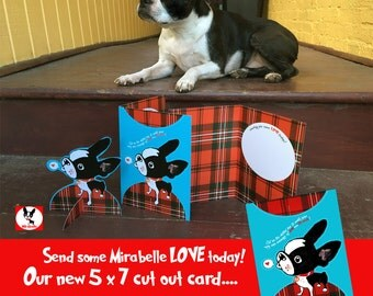 Boston terrier 3D Greeting LOVE card  cut out figure The Adventures of Mirabelle