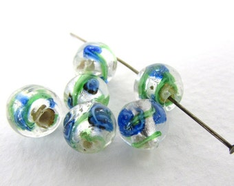 Vintage Lampwork Bead Crystal Clear Glass Silver Foil Green Blue White Swirl Round 8mm to 9mm vgb1138 (6)
